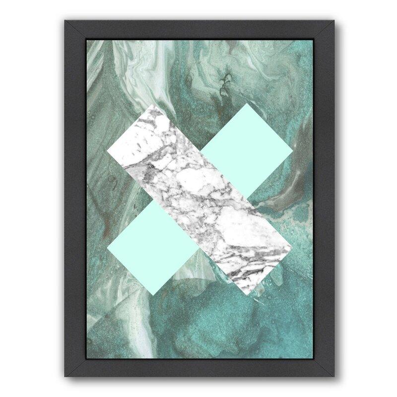 Wrought Studio Geometric Marble X Framed Graphic Art Wayfair