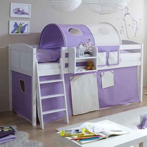 Halbhochbett Emrich mit Vorhang und Leiter| 90 x 200 cm Roomie Kidz Textilfarbe: Lila / Beige | Kinderzimmer > Kinderbetten | Roomie Kidz