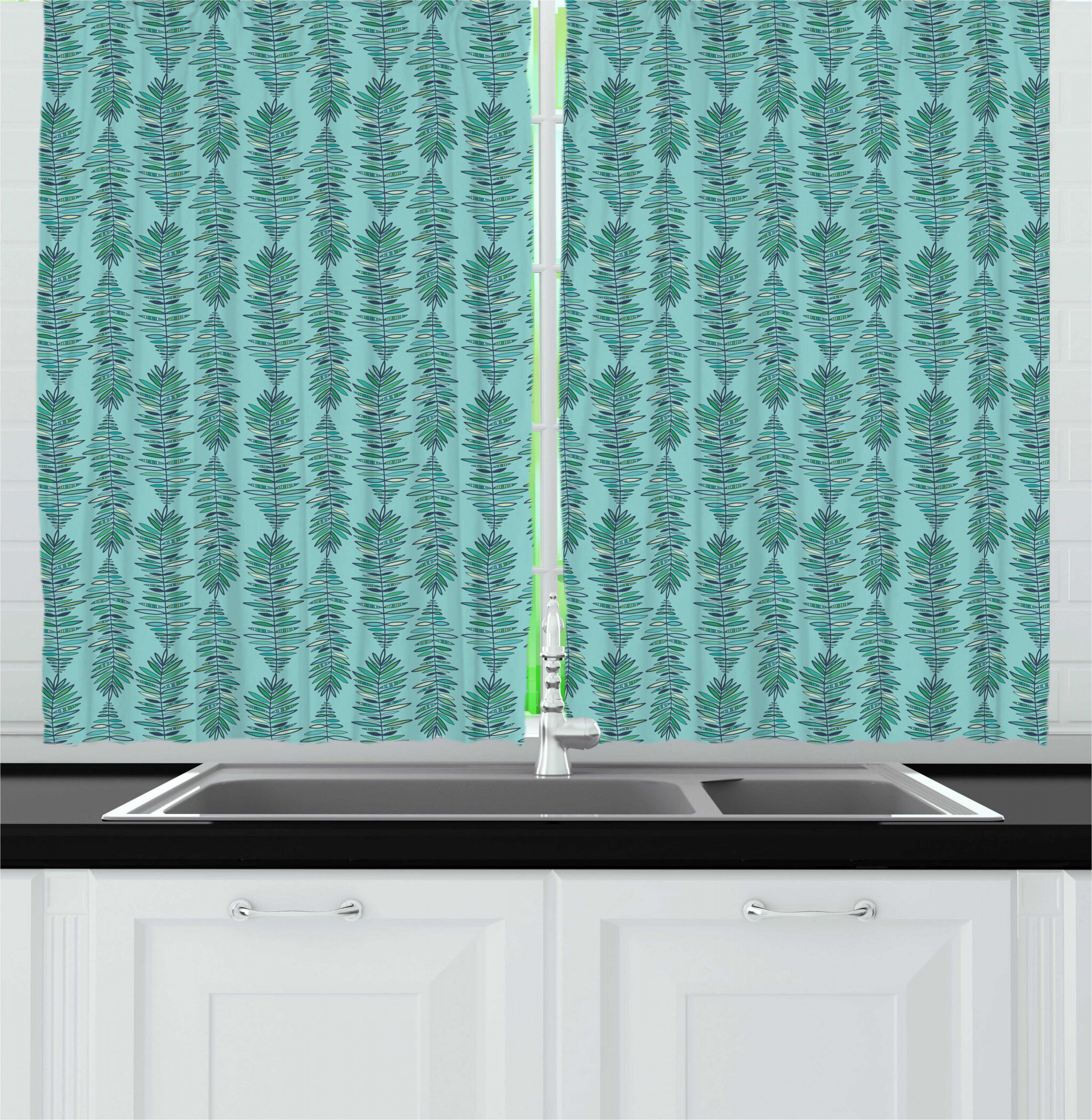 East Urban Home Nature Leafy Vertical Strips Feathers Bohemian Feels Kitchen Curtain Wayfair
