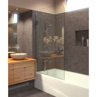 Round Glass Top Corner 33.5 inch  x 60 inch  Hinged Frameless Tub Door
