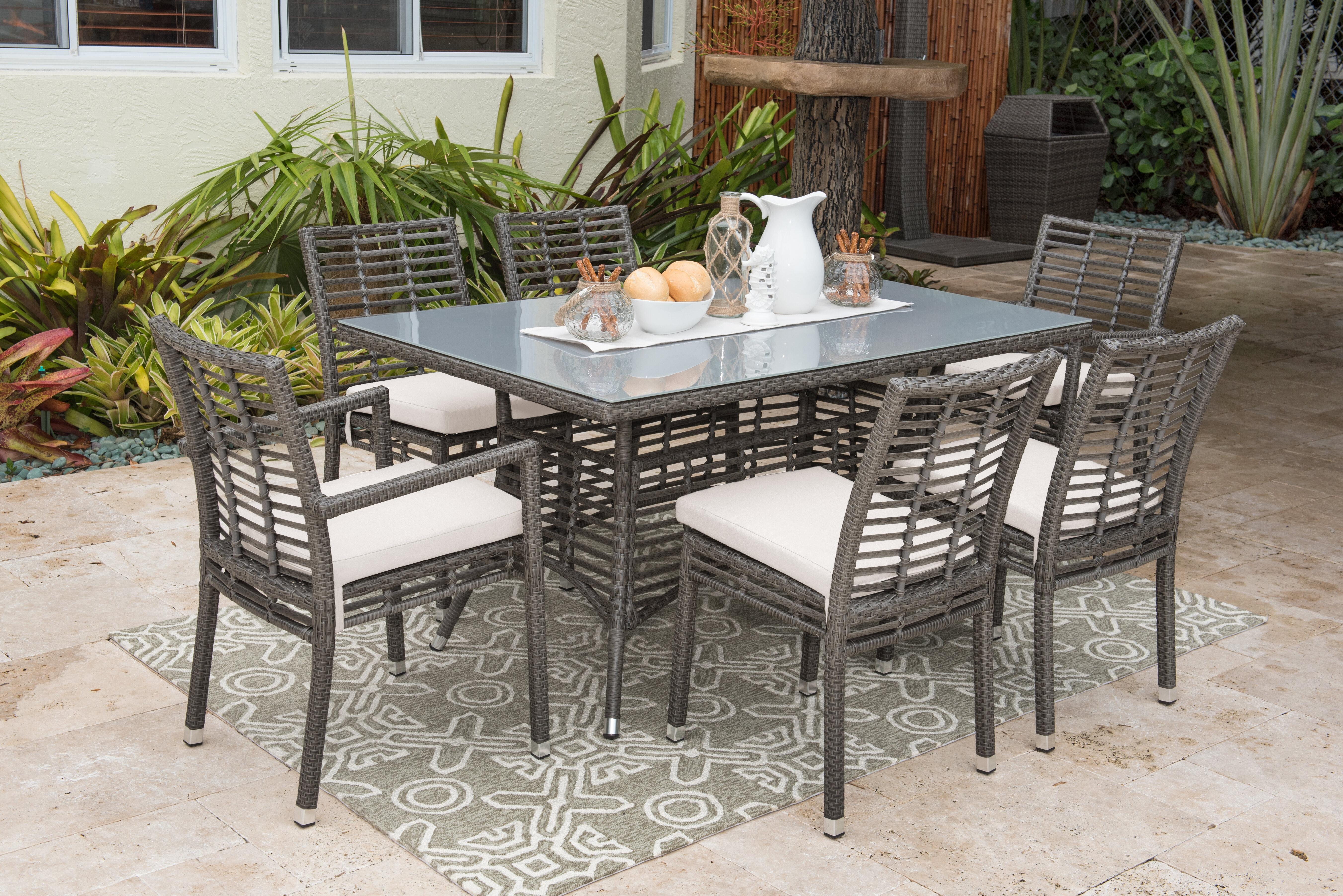 Panama Jack 7 Piece Dining Set With Sunbrella Cushions Reviews Wayfair