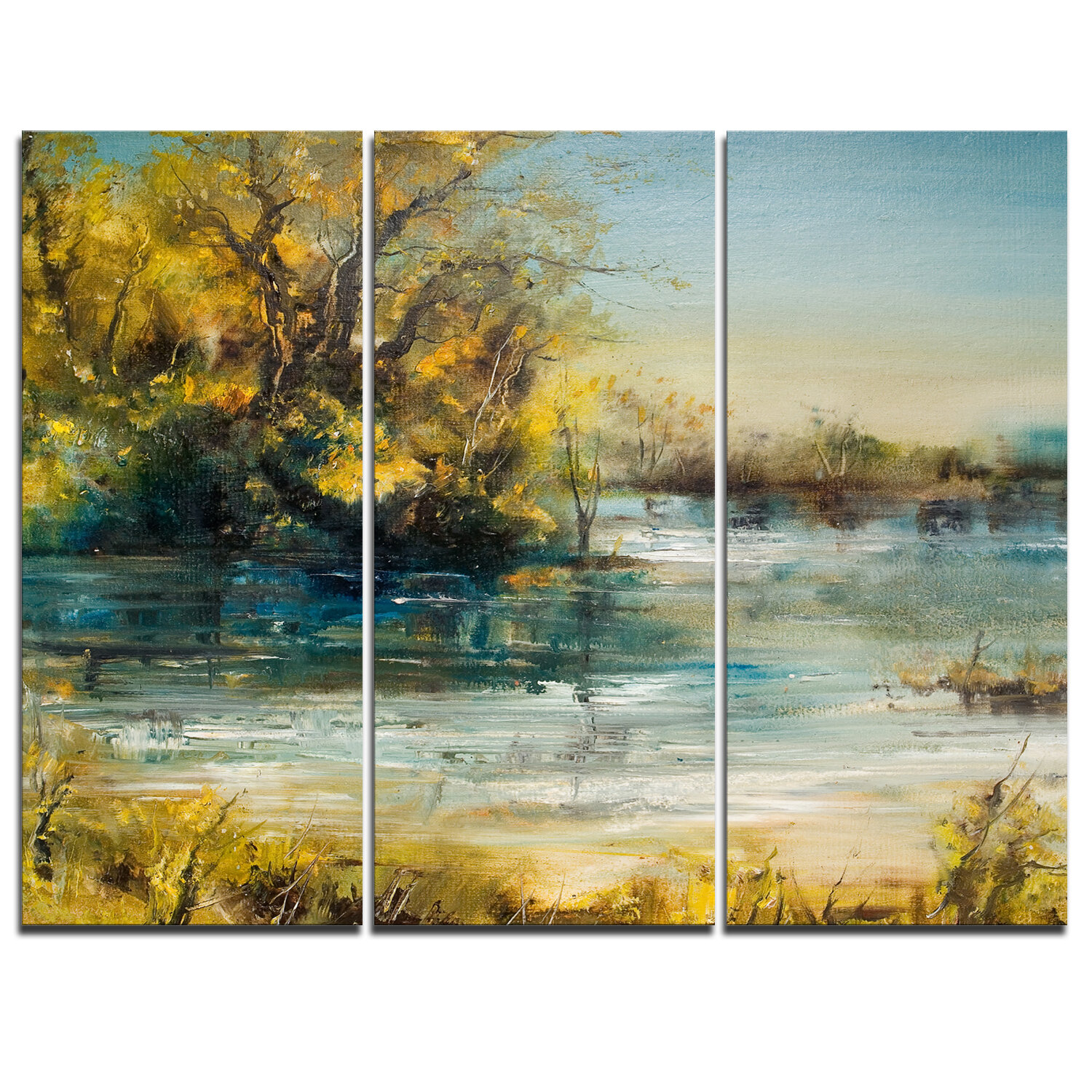 Designart Trees By The Lake 3 Piece Graphic Art On Wrapped Canvas Set Wayfair