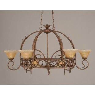 8 Light Chandelier Pot Rack with Crystal Glass Shade