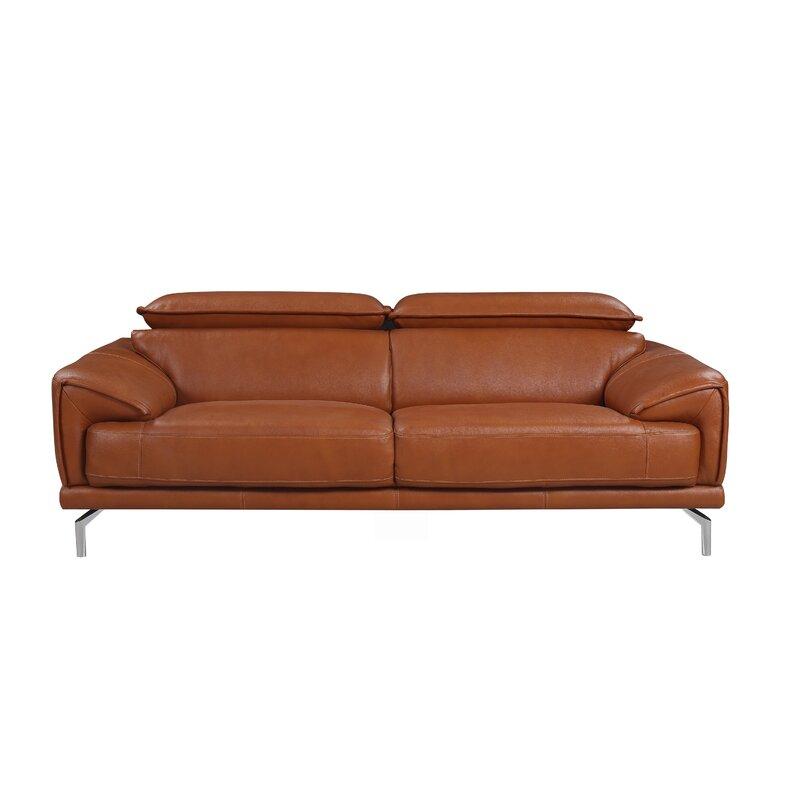 Orren Ellis Trafton Mid Century Modern Leather Sofa | Wayfair