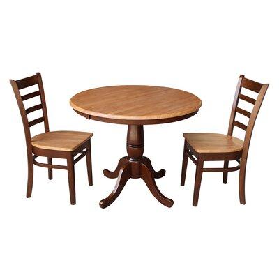 Petra Traditional Extendable Pedestal 3 Piece Solid Wood Bistro Set August Grove Color: Cinnamon / Espresso