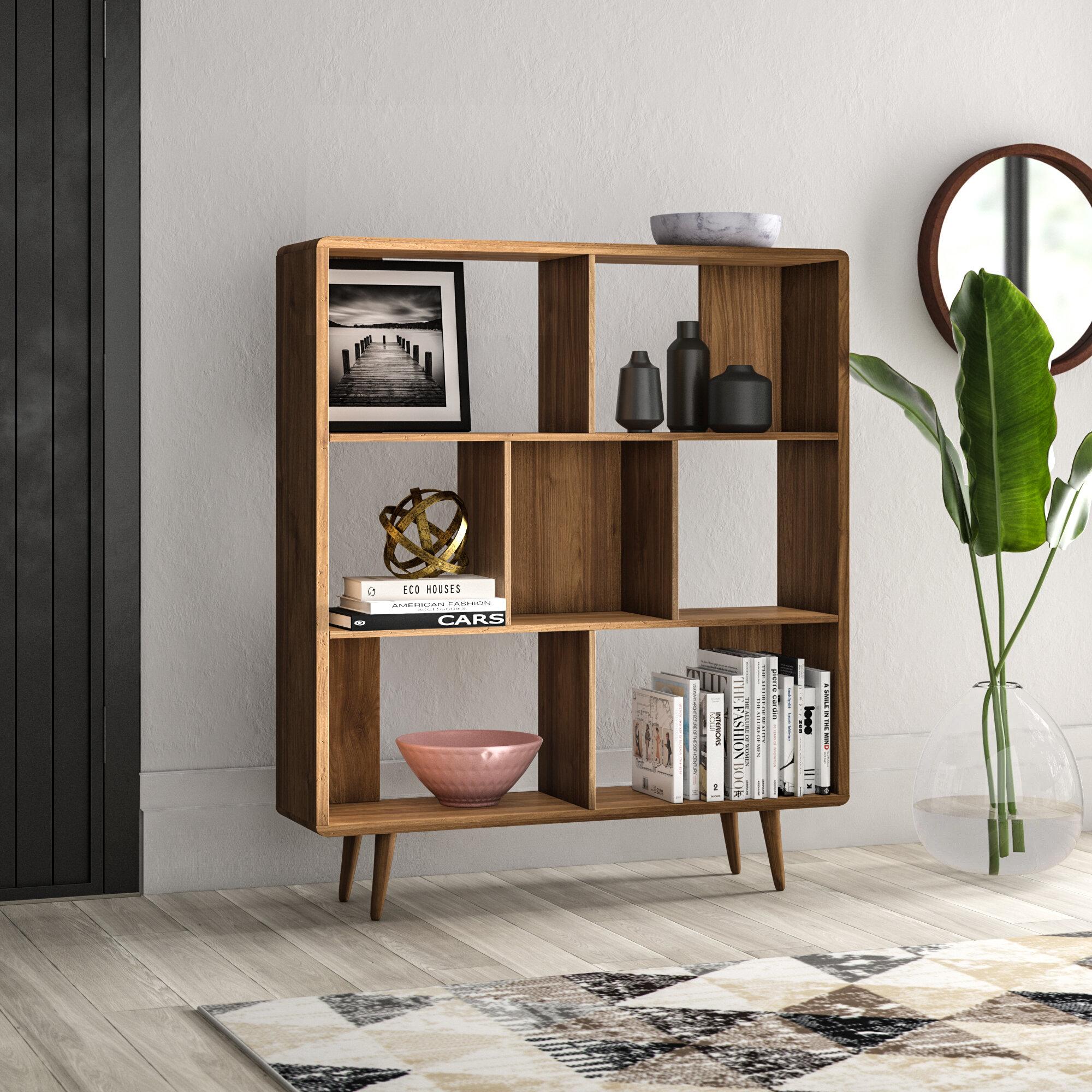 Image of: Mercury Row Chapple Geometric Bookcase Reviews Wayfair