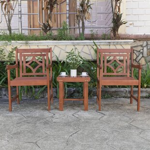 Stephenie Patio Wood 3 Piece Conversation Set