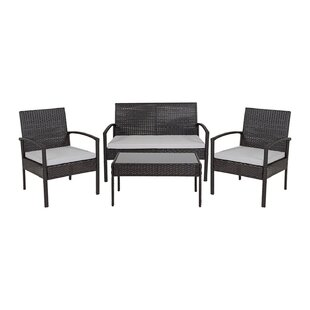 Wang 4 Piece Rattan Sectional Seating Group by Charlton Home