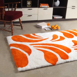 Shortwool Design White/Orange Area Rug by Bowron Sheepskin