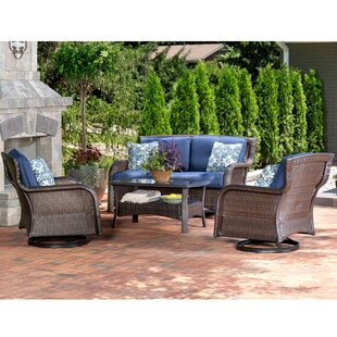 Stratton 4 Piece Outdoor Wicker Chat Set Patio Conversation Bistro Set With Deep-Seating Loveseat Swivel Rockers Green Accent Pillows and Coffee Table by Canora Grey