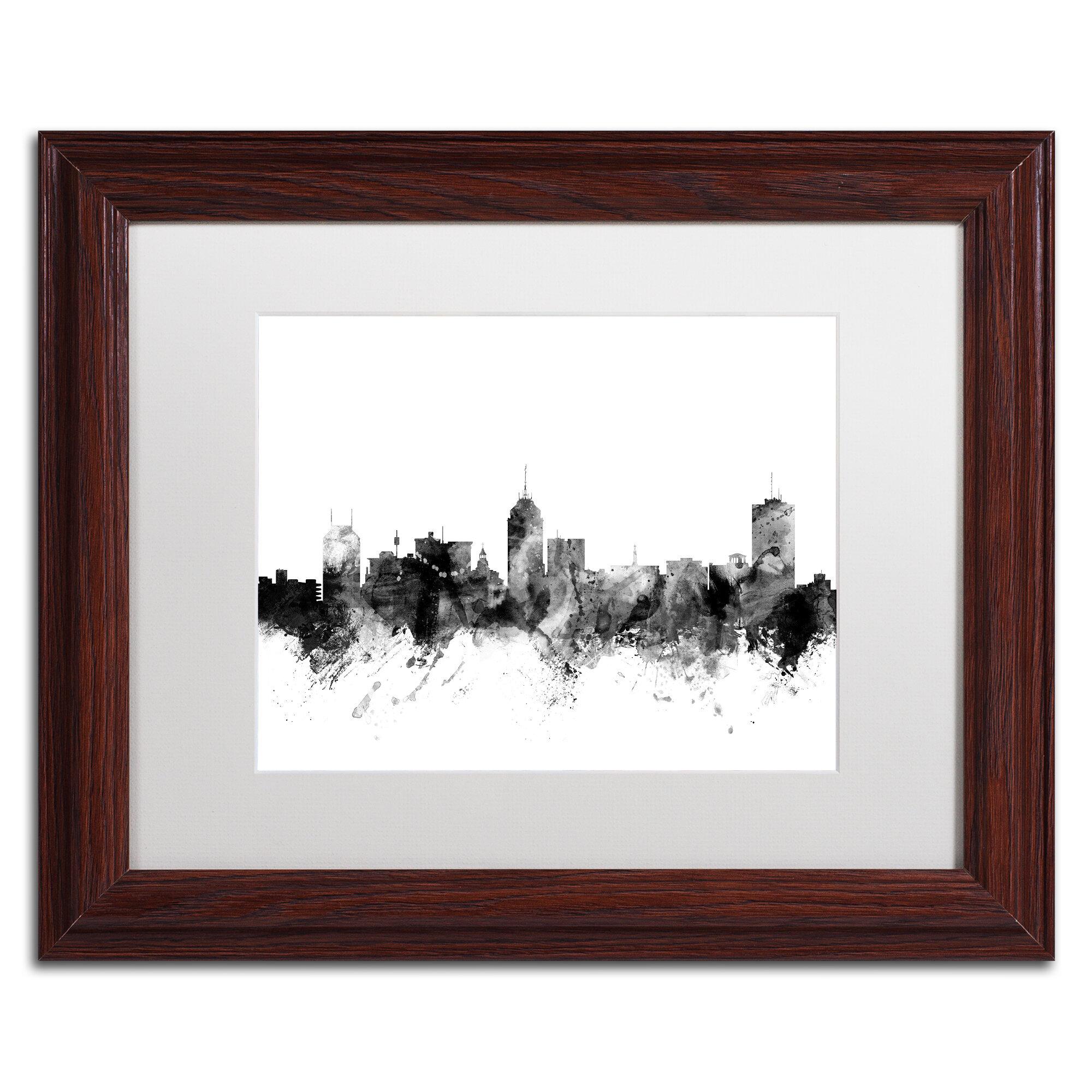 Trademark Art Fresno California Skyline B W Framed Graphic Art Wayfair