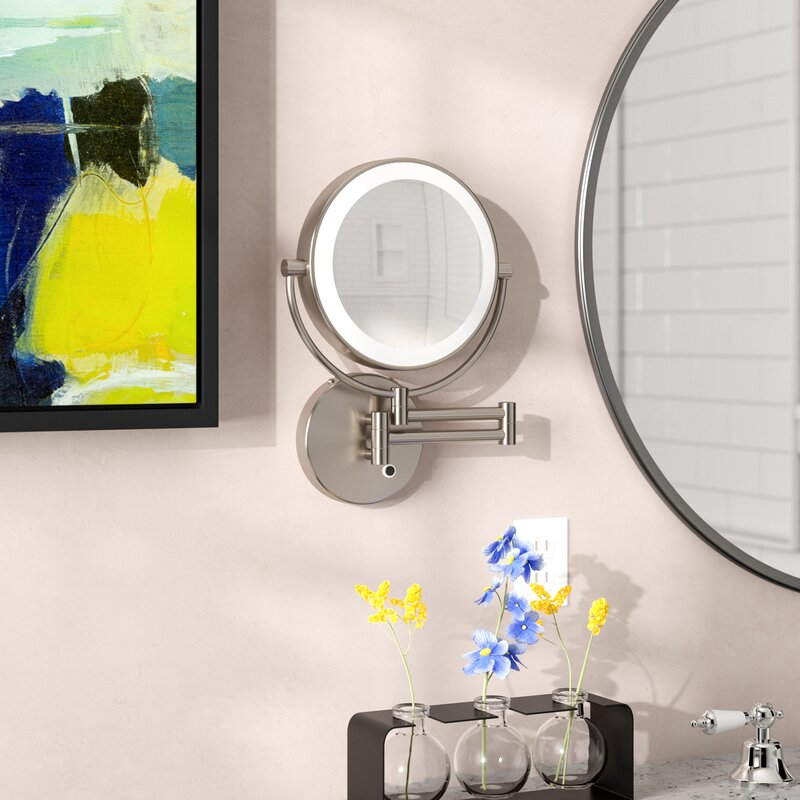 Wrought Studio Howell Lighted Wall Mount Mirror Reviews Wayfair