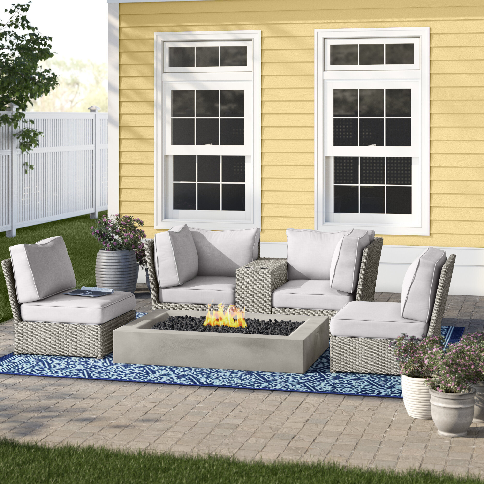 Picture of: Almyra 6 Piece Rattan Sectional Seating Group With Cushions Reviews