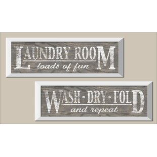 Clic Gray Laundry Signs On Wood Panel Style Background 2 Piece Framed Graphic Art Print Set