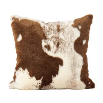 Foundry Select Ahearn Blonde Cowhide Leather Suede Animal Print Pillow Cover Wayfair