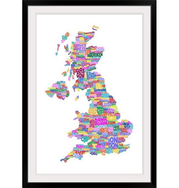 Great Big Canvas Great Britain Uk City Text Map By Michael Tompsett Textual Art Wayfair