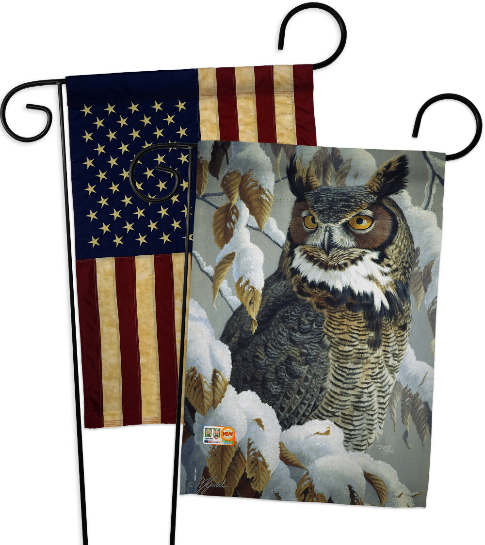 Breeze Decor 2 Piece Great Horned Owl Friends Impressions Decorative 2 Sided Polyester 19 X 13 Garden Flag Set Wayfair