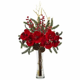 Mixed Orchid Holiday Arrangement in Vase