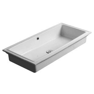 Savings City Ceramic Rectangular Undermount Bathroom Sink with Overflow ByWS Bath Collections
