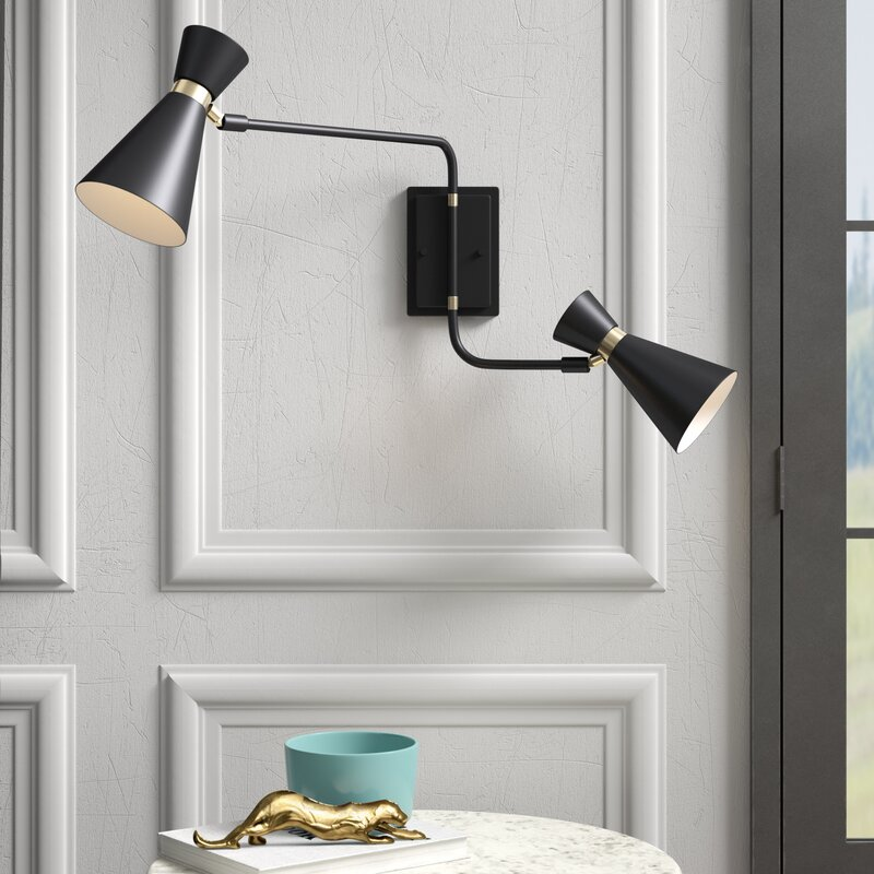 2-4 Way Ceiling Bar Spotlights Fitting Antique Brass Swing-Arm Glass Shades