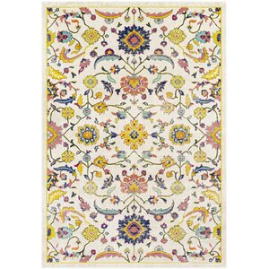Anil Distressed Floral Mustard/Cream Area Rug