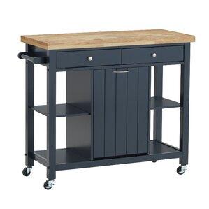 Aldridge Kitchen Cart. Light Gray Navy Blue