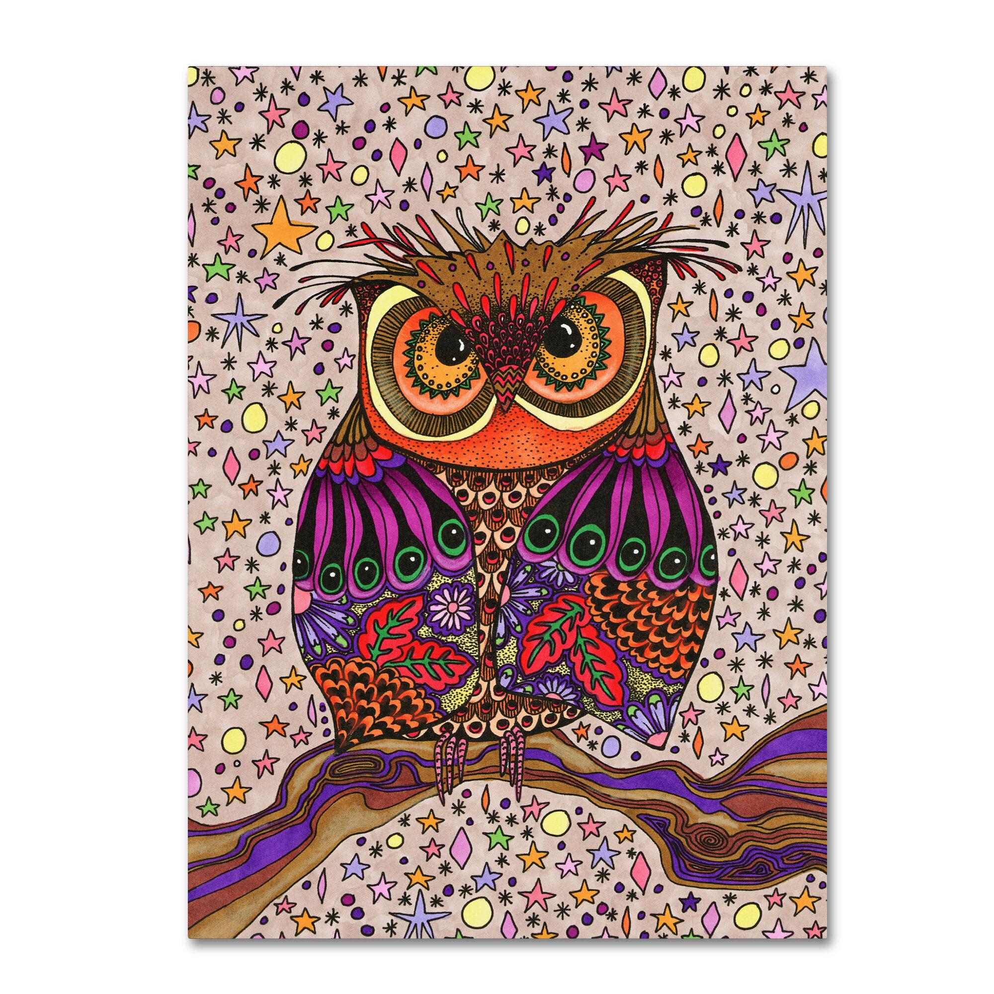 Trademark Art Starry Night Owl Graphic Art Print On Wrapped Canvas Wayfair