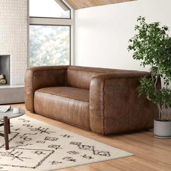Admirable Modern Contemporary Tan Leather Sofa Allmodern Caraccident5 Cool Chair Designs And Ideas Caraccident5Info