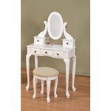 Adrianna Solid Wood Vanity Set with Stool and Mirror by Charlton Home®