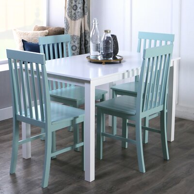 Cienna 5 Piece Dining Set Chair Color: Green by Beachcrest Home