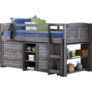 Twin Low Loft Slat Bed With Bookcase Chest And Shelves Drawer