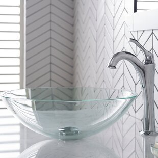 Glass Circular Vessel Bathroom Sink with Faucet Kraus