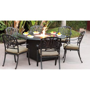 Three Posts Lebanon 7 Piece Dining Set with Cushions and Fire pit