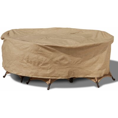 Freeport Park Aaden Round Patio Table and Chairs Combo Cover Color: Tan, Size: Large - 100 Diameter x 30 Drop, Material: Polyester
