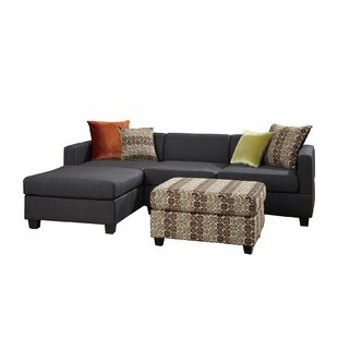 Bobkona Dayton Reversible Sectional with Ottoman