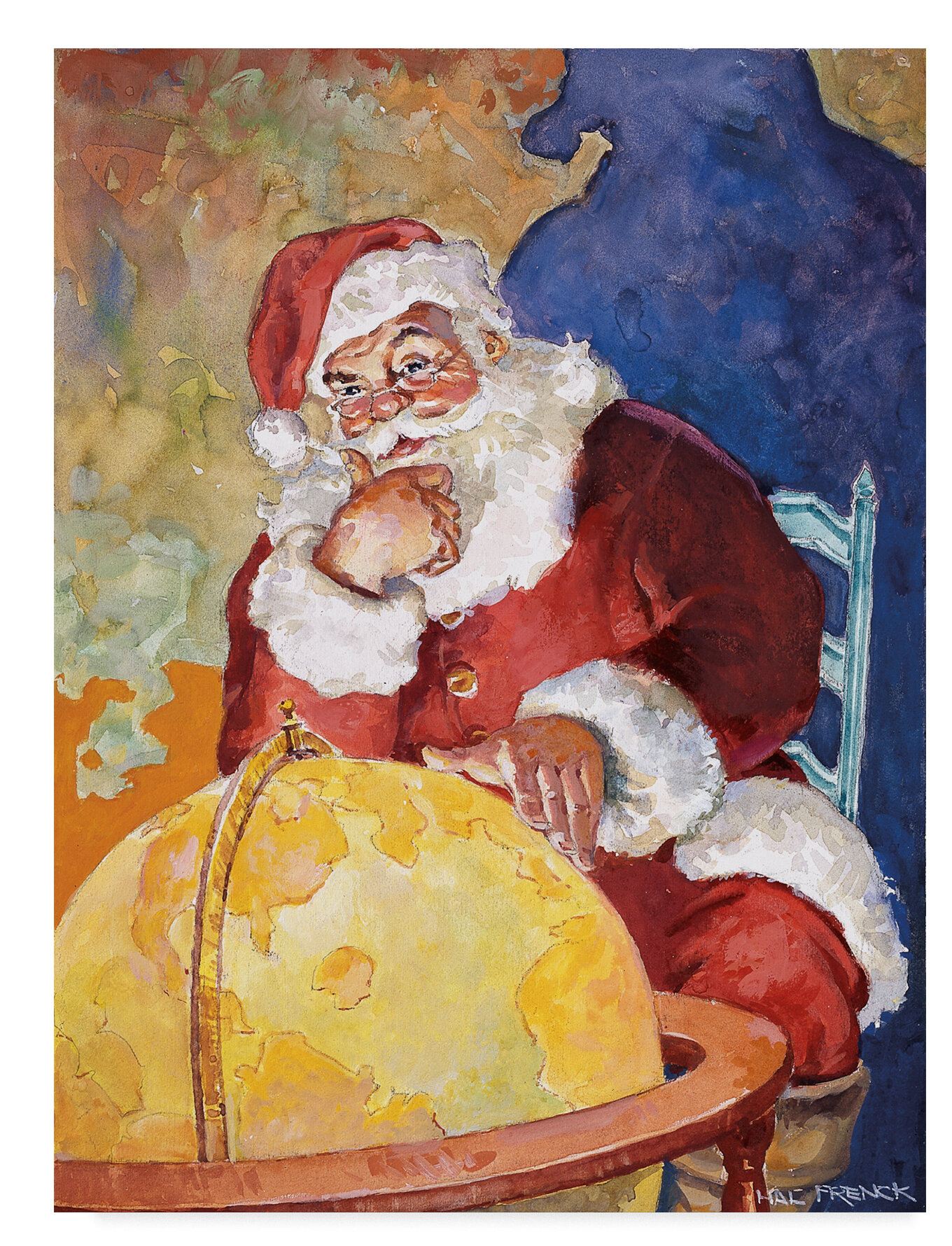Santa With Globe Oil Painting Print On Wrapped Canvas
