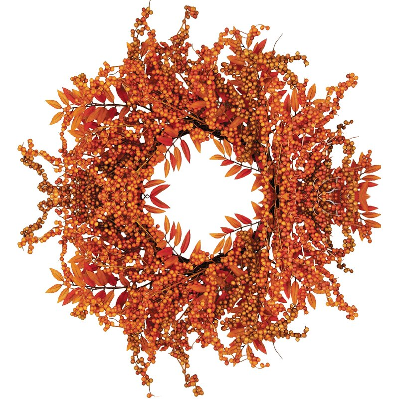 """Fall 18"""" Berry Fern Wreath"""