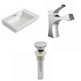 Ceramic 26 Wall-Mount Bathroom Sink with Faucet and Overflow ByRoyal Purple Bath Kitchen