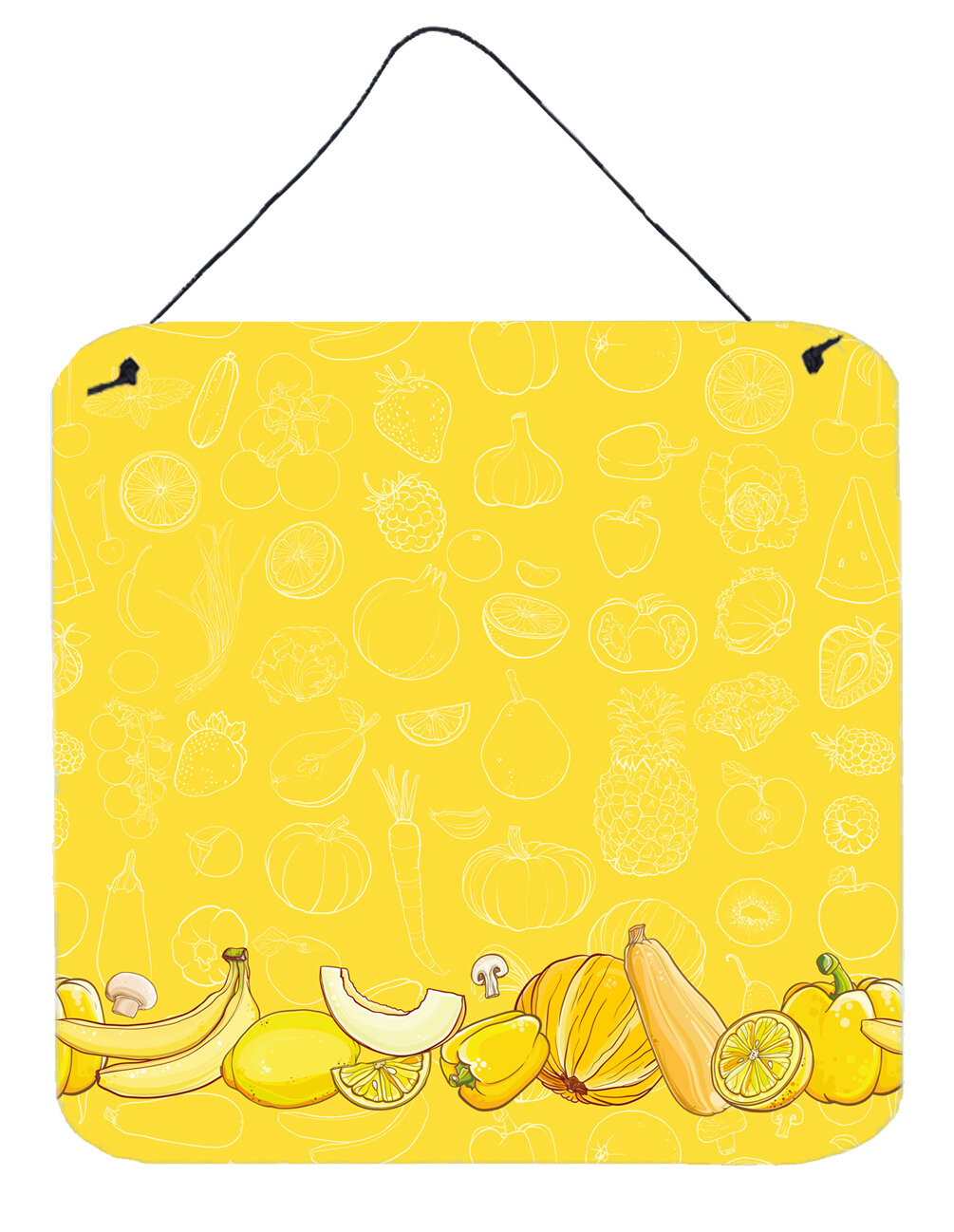 East Urban Home Fruits and Vegetables on Yellow Background Wall ...