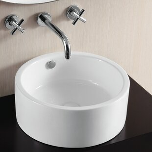 Check Prices Ceramica II Ceramic Circular Vessel Bathroom Sink with Overflow By Caracalla