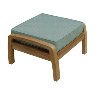 Douglas Nance Somerset Outdoor Teak Ottoman with Sunbrella Cushion