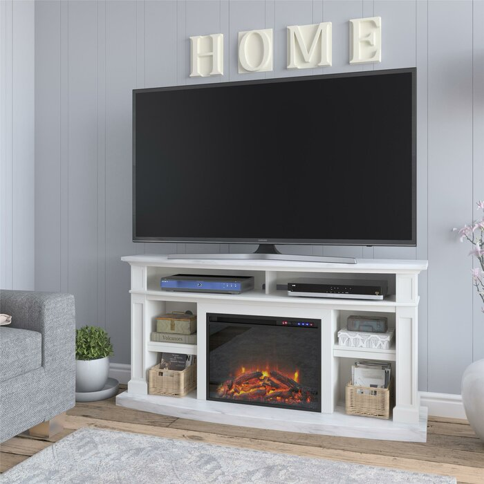 Georgie TV Stand for TVs up to 65 inches with Electric Fireplace Included