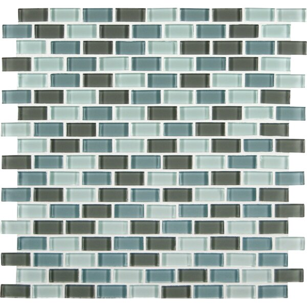 Msi Majestic Ocean Mini Brick Mounted Gl Mosaic Tile In White And Grey Reviews Wayfair