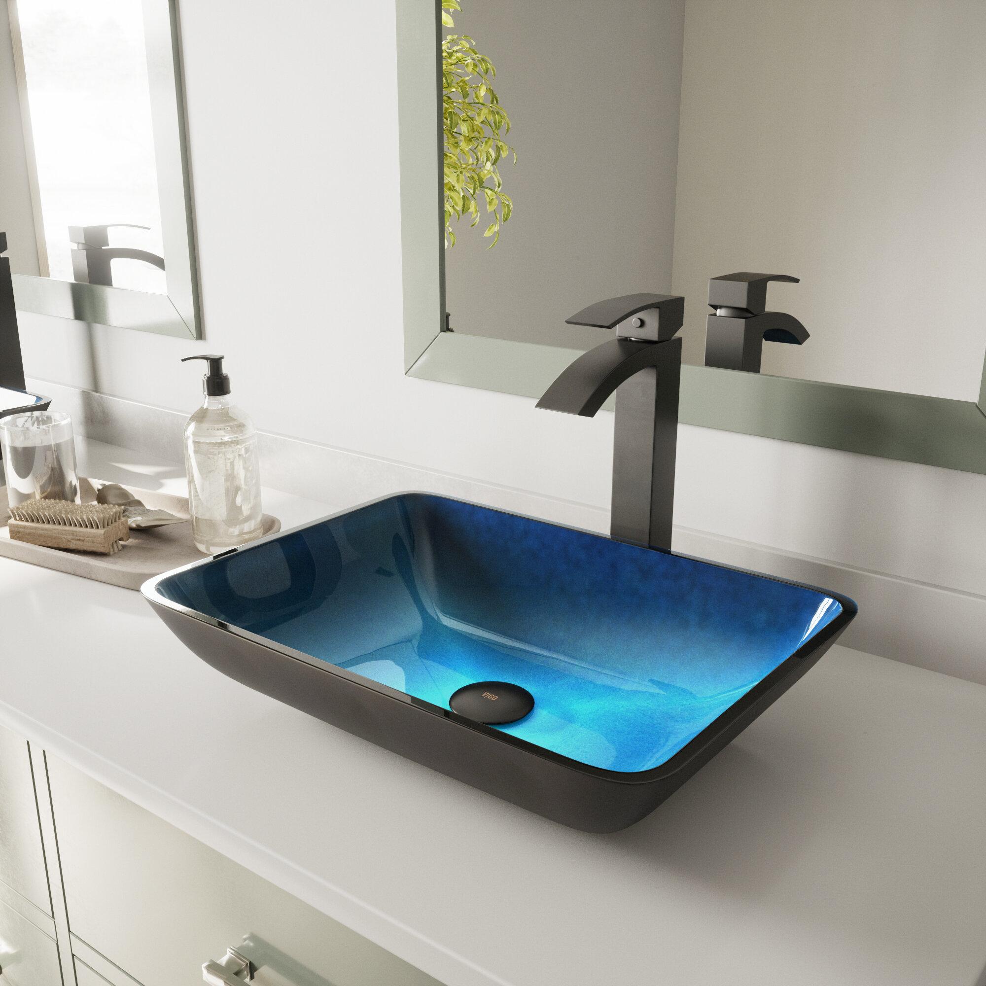 Vigo Turquoise Water Glass Handmade Rectangular Vessel Bathroom Sink Reviews Wayfair