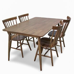 Absher 5 Piece Solid Wood Dining Set by G..