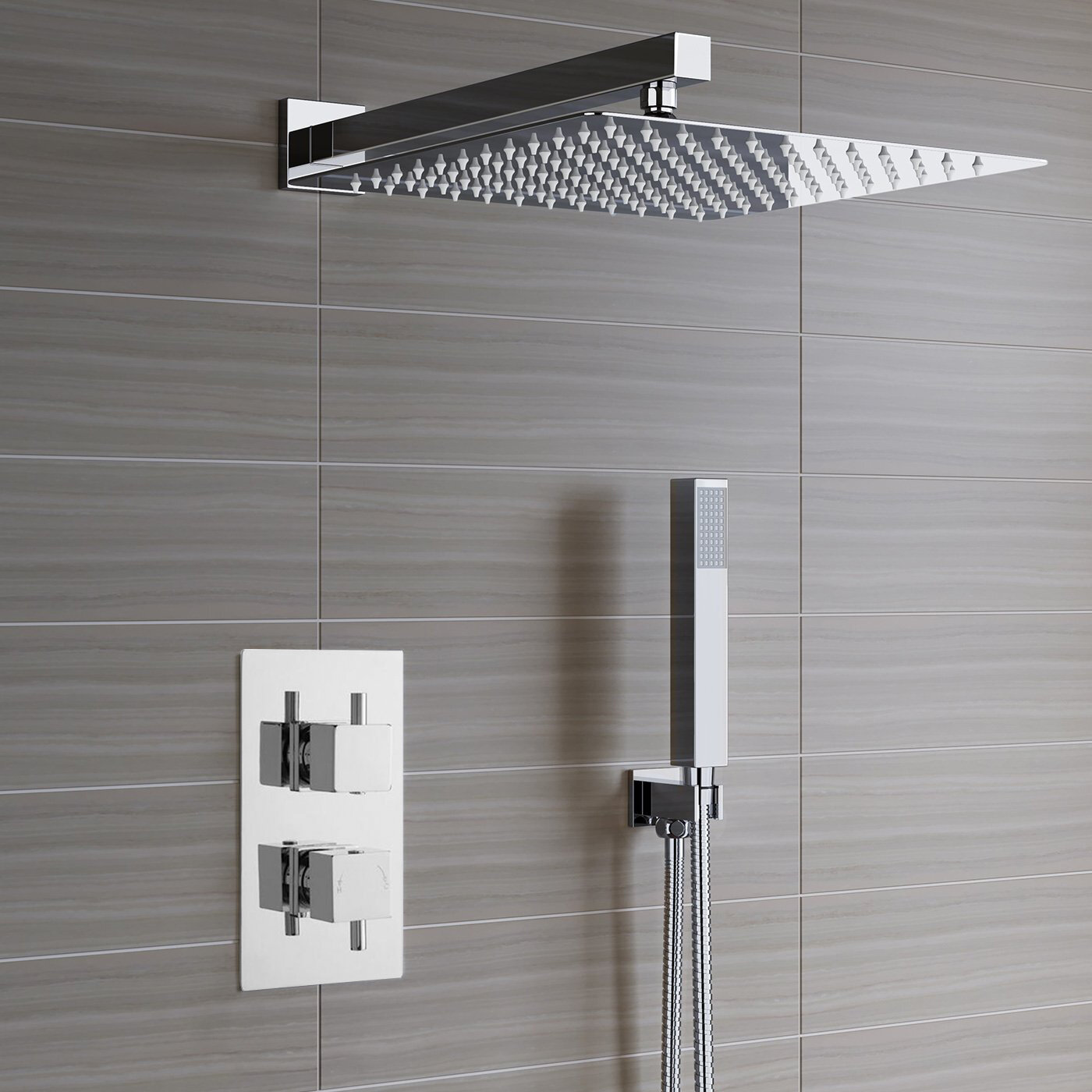 Fontanashowers Lima Ultra Thin Rain Head Thermostatic Complete Shower System With Rough In Valve Wayfair