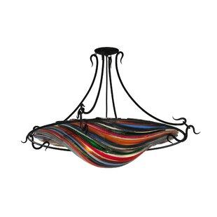 Metro Fusion Colori Del Arcobaleno Glass 3-Light Semi-Flush Mount by Meyda Tiffany