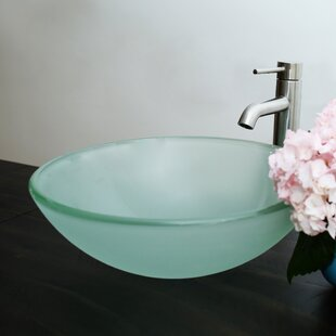 Looking for Glass Circular Vessel Bathroom Sink with Faucet By Arsumo