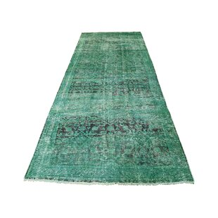 One-of-a-Kind Castleberry Overdyed Worn Pure Hand-Knotted Runner 3'8 x 10'1 Wool Blue/Black Area Rug Isabelline
