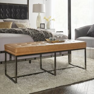 Fadrique Solid Tufted Top Metal Bench